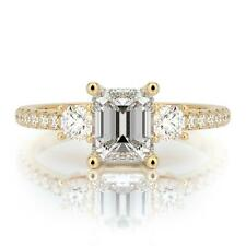 1.75 Ct E Vs2 Emerald Cut Diamond Engagement Ring 14K Yellow Gold Certified