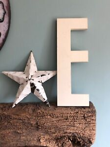 Letter E Salvaged White Vintage Industrial Chunky Picture House Reclaimed