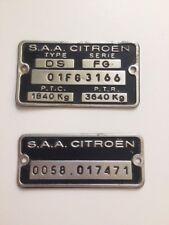 Plaques d'identification vierge constructeur S.A.A. Citroen DS DS23 pallas