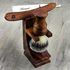 Wooden Shaving Set For Men's With Synthetic Hair Brush & Wooden Straight Razor.