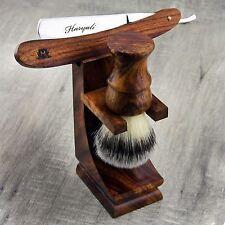 Wooden Shaving Set For Men's With Synthetic Hair Brush & Wooden Straight Razor.