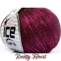 Rock Star Ice Yarn FUCHSIA Merino Wool Acrylic Worsted #4 Weight 196y Metallic