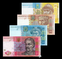 Ukraine Set 4 PCS 1,2,5 and 10 HRYVEN 2013-2015 UNC