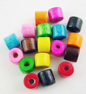 200Pcs Wood Loose Beads Dyed Tube Column Lined Spacer Beads for Jewelry Making