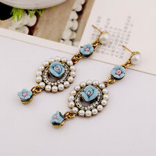 Antique Women Baroque Flower Floral Pearl Drop Dangle Stud Earrings