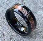 8MM Men's Genuine Black Tungsten Carbide Camouflage Inlay Wedding Band Ring