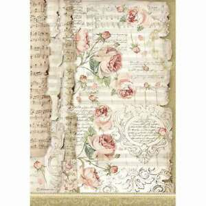 STAMPERIA Decoupage PRINCESS - ROSES AND MUSIC - Rice Paper A4 - DFSA4486