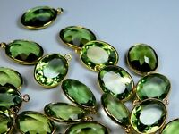 AAA+Pair Of Hydro Green Amethyst Faceted Oval Gold Plated Charm Bezel Connectors