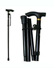 New Plain adjustable Fold-able Lightweight Aluminium Walking stick in black