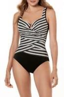 MSRP $186 Miraclesuit Gilt Trip Escape One Piece Swimsuit Black Size 8