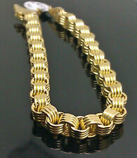 Real 10K Yellow Gold Byzantine Box Link Bracelet 8.5 inch Long 6.5mm, Men's,10kt