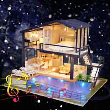 LED Wooden 3D DIY Dollhouse Miniature Furniture Doll Dolls House Music Toy Gift