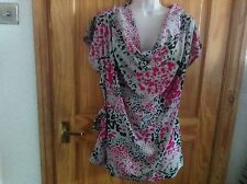 BEAUTIFUL LADIES GREY MULTI LONG TOP WITH COWL NECK by TOPSHOP SIZE UK 12 BNNT
