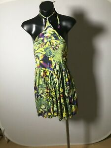 Wrangler Womens Playsuit Romper Size 10 Green Nature Floral Halter Sleeveless