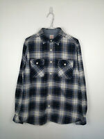 Mens Flannel Shirt Mossimo Size M Athletic Fit Blue Check 100% Cotton Button Up