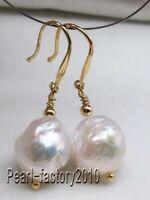 baroque 12-13MM AAA  south sea white  pearl earrings 14K  GOLD