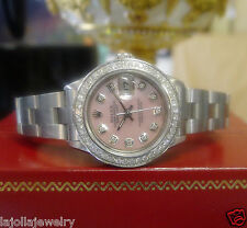 Ladies ROLEX Datejust Pink Mother-of-Pearl Diamond Bezel and Diamond Dial Watch