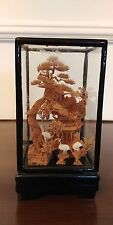 Vintage Asian Oriental Chinese Cork Carving Art Sculpture Storks