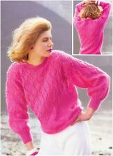 Ladies' Mohair Crew Neck Diamond Lace Panels Sweater Vintage Knitting Pattern