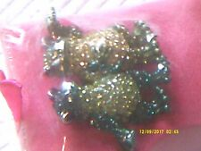 NEW BUTLER AND WILSON BOXED 2 FROGS CRYSTALS  BROOCH