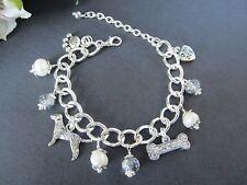 Labrador / Golden Retriever Dog Charm Bracelet w/ Pearls & Swarvoski Crystals