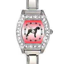 Giant Schnauzer Dog CZ Womens Stainless Steel Italian Charms Wrist Watch BJ1080