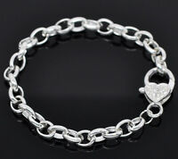 Wholesale Lots Silver Plated Heart Lobster Clasp Bracelet Fit Clip On Charm 20cm