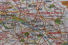 Rare carte scolaire vintage PARIS capitale 24 France Lablache 119*99cm Loft P439