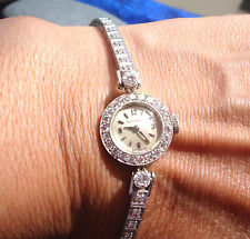 Retro 14k White Gold Movado Watch 1.50 Ct Diamonds On Tennis Bracelet