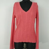 Bass Salmon Pink Cable Knit V-Neck Long Sleeve Sweater Womens Size M