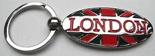 LONDON Union Jack Metal KEY RING Oval Shaped British England GB UK Souvenirs