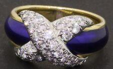 Tiffany & Co. Schlumberger 18K/Platinum .70CT VS1/F diamond enamel cocktail ring
