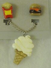 "Vanilla Ice Cream Cone Necklace, matching Hamburger & Fries Earrings, 18"", New"