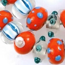 Lampwork Handmade Glass Beads Orange Blue Rondelle (12)