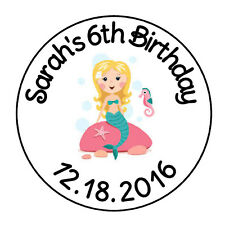 """24 PERSONALIZED MERMAID BIRTHDAY FAVOR LABELS ROUND STICKERS 1.67"""" *"""
