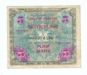 GERMANY MILITARY NOTE 5 MARK 1944