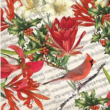 Cardinal and Holly Christmas Tissue Paper ~ # 707 . 10 Lg Sheets