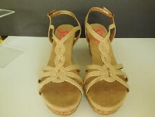 New Jelly Pop Women's Natural Jute 3.5 in Cork Wedge Sandals Shoes Sz 10  $50
