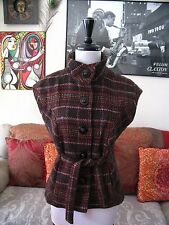 CAbi sz S Brown Plaid Tweed Cinch It Up Vest Style # 691 Wool Blend