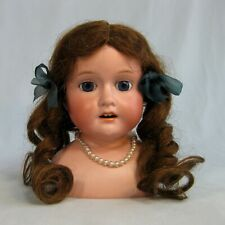 "Antique Morimura Brothers Bisque Doll Head Glass Sleep Eyes Wig Japan 7"" Tall"
