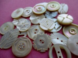 PRETTY VINTAGE MOTHER of PEARL BUTTONS CARVED & SHAPED 23 pcs.