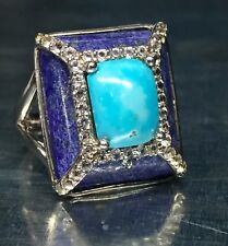 Sterling Silver 925 Blue Turquoise - Lapis Cz Accent X Rectangle Cocktail Ring 7