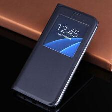 tirón Vista Ventana Estuche Cartera Cuero Funda para Samsung Galaxy S6 S7