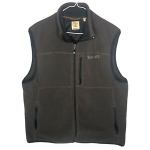 Timberland Men's Size Large Full-Zip Dark Brown Fleece Vest Pockets Outdoors