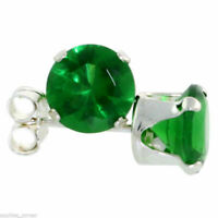 1/2 ct. Emerald Round Prong Stud Earrings ~ Solid Sterling Silver ~ Gift box