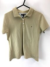 TOMMY HILFIGER Girls Polo Shirt L Large Beige Cotton