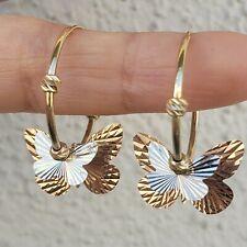 14k gold diamond cut butterfly  hoop earrings