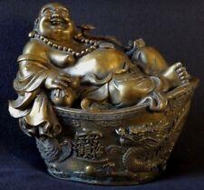 Superbe happy bouddha bronze golden chinese boudda sculpture Chine dragon mark