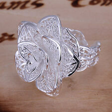 Women Girl Silver Plated Hollow Out Flower Shaped Opening Finger Ring Little