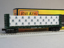 MTH RAILKING SOUTHERN BULKHEAD FLATCAR LUMBER O GAUGE train freight 30-76649 NEW